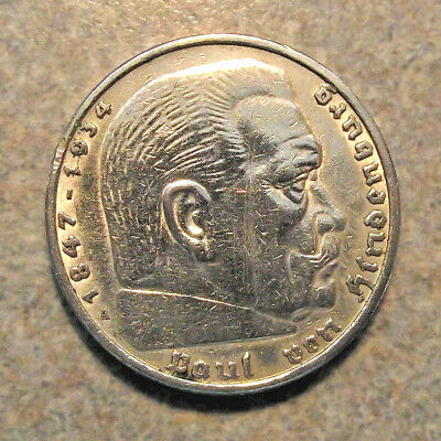 1936-A NAZI HINDENBURG 5 Mark .900 SILVER COIN(LOT JC12)WW2 GERMANY 5 ReichsMark