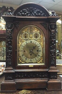 Massive Carved oak 8 Bell Triple Chain Fusee Musical Bracket Clock.