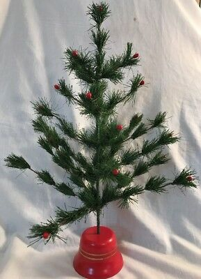 "Vintage/Antique Style 20"" Faux Feather Christmas Tree Green with Red Berries"