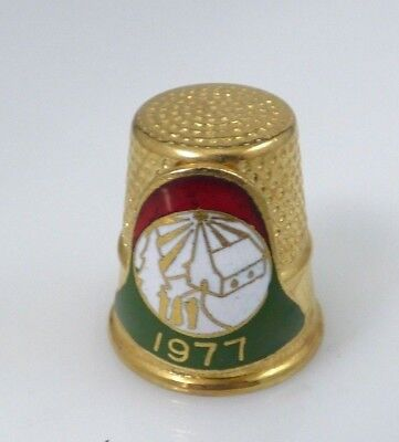 Vintage Lillian Vernon 1977 Church Scene Gold Tone Thimble Christmas Bell Enamel