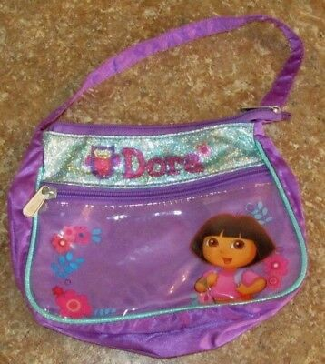 Vintage Dora Explorer Glitter Messenger Purse Nickelodeon Girls Purple Hand Bag