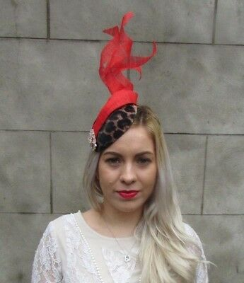 Black Gold Bright Red Feather Leopard Animal Print Hat Fascinator Races 6564
