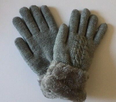 Women Winter Knit Thick Fleece Lined Warm Soft Gloves