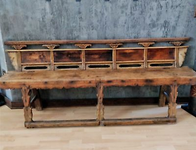 CHINESE OPERA BENCH - Antique 19th century Qing Dynasty Elmwood - OVER 7ft Long