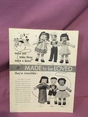 """VTG/1955 ~""""MADE TO BE LOVED"""" RAG DOLL PATTERN (Oriental, African American etc) S"""