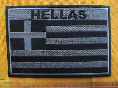 HELLAS Large Greek National Flag Black Grey Full Embroidered Patch Motorcycle