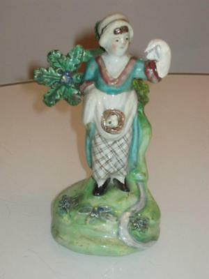 STUNNING 19th CENTURY ANTIQUE STAFFORDSHIRE PEARLWARE FIGURE SIGNED WALTON
