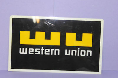 "Lot of 2 Vintage Hard Plastic WESTERN UNION Counter Sign -  6"" x 10"" - Wall Hang"