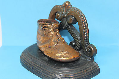 Vintage Solid Copper Baby Shoe Mounted On Bronze Base