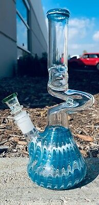 "10"" Glass Zong Hookah Water Pipe Bong w/ Down Stem and Bowl Assorted Colors"