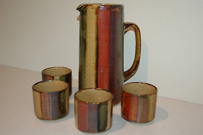 Vintage Japan Pottery OMC Striped Pitcher with 4 Mugs Glasses
