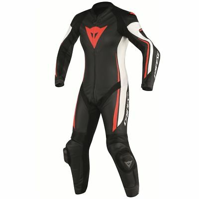 Dainese Assen Womens Perforated 1-Piece Leather Suit Black/White/Red