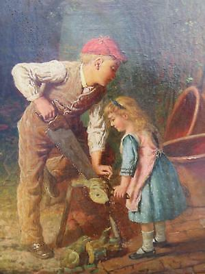 To £ 70K Primitive George Smith 1876 Oil Brother & Sister Cutting Wood Childhood