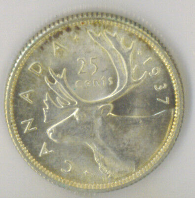Canada 1937 25 Twenty Five Cents ICCS Certified MS-64 King George VI