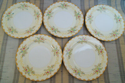 5 Vintage Meito China Dalton Hand Painted Floral Dinner Plates F & B Japan
