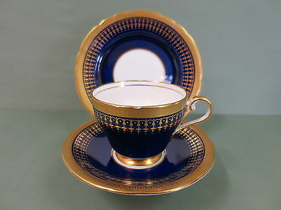 Aynsley Hertford Cobalt Gold & Gilt English Trio Vintage