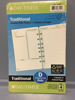 New Day-Timer Traditional Undated Planner, Calendar Refill~2 Pg/day Size 4