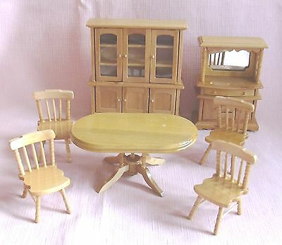 A Pine Dining Set  7 Pieces , 1 Table 4 Chairs , 1 Dresser and 1 Sideboard 12th