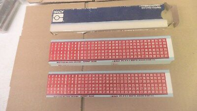 Brady WM-1-33-PK-RD wire marker sheets, box of 25 sheets, white on red, nos