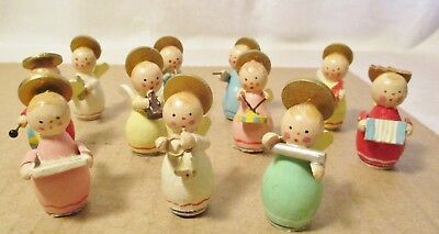 Vintage Wood Angel Band Figures / Eleven Angels Playing Instruments