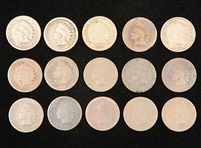 Mixed Lot of 15 U.S. Mint 1C Indian Head Cents, 1859-1879 with Some Better Dates