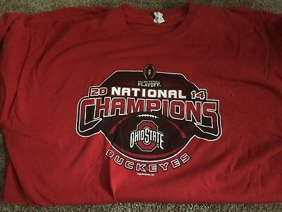 Ohio State Buckeyes Football 2014 National Champions Scarlet T-Shirt 2XL
