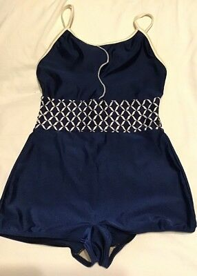 Vintage Genuine 50s 60s One Piece Navy + Lattice French Bathing Suit Size 6/8