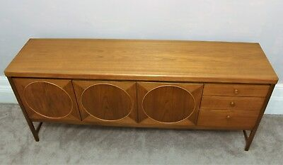 Mid Century 60's Teak Sideboard,  Circles By Nathan. Retro Vintage Danish Style