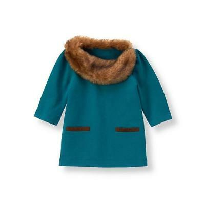 NicE JANIE Jack FAUX FUR COLLAR Top DRESS Girls 2T Teal BLUE Shirt TOP Free SHIP