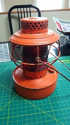 City of Vancouver B.C. Handlan contractor lantern original paint red globe