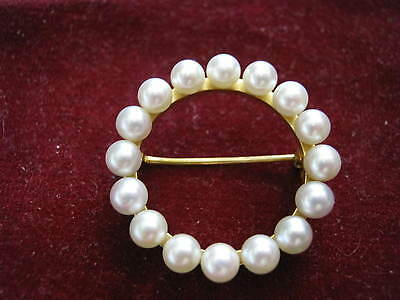 """14K Yellow Gold 1 1/8"""" Circle Pin w/ 16 CULTURED 4.5mm PEARLS, 5.0 grams S&F?"""