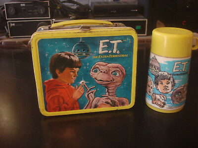 VINTAGE 1982 E.T. THE EXTRATERRESTRIAL - ALADDIN METAL LUNCHBOX w/ THERMOS