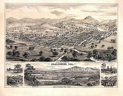 ca8 Antique old map genealogy history HEALDSBURG in RUSSIAN RIVER VALLEY C1876