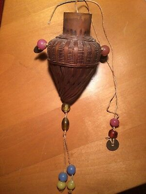 Antique Vintage Chinese bamboo woven Basket with old Coins & Glass beads