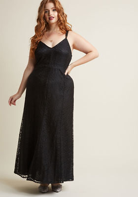 2073d7745fe Modcloth Plus Size 2X Black Lace Maxi Dress Beaded Neckline Vintage Style