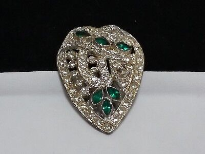 Vintage Estate Silver Gorgeous Green Rhinestone Art Deco Fur Clip