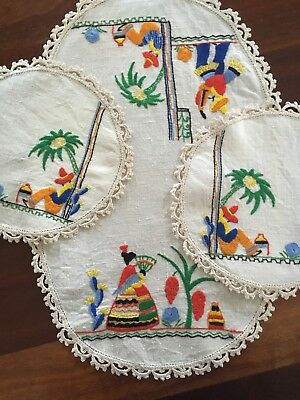Fabulous Vintage Linen Mexican Theme Siesta hand embroidered 3 Doily Duchess Set