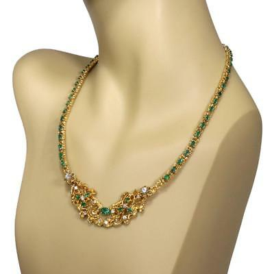 Estate 8.90ct Emerald & Diamond 14k Yellow Gold Floral Necklace