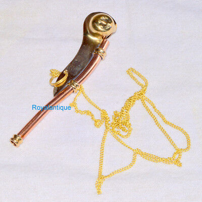 New 5 Inch Brass Copper Boatswain Whistle Chain Bosun Call Pipe Maritime Item