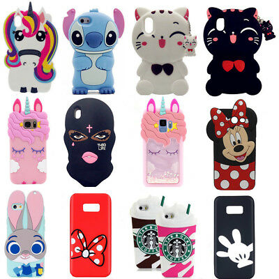 3D Cartoon Soft Silicone Cover Case For Samsung Galaxy S9 S8 Plus S7 S6 edge S5
