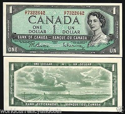 Canada 1 Dollar P75 B 1954 Young Queen Prairie Unc- Paper Money Bill Bank Note