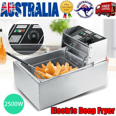 6L Commercial Electric Deep Fryer Frying Basket Chip Cooker Fry 2500W AU Stock