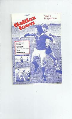 Halifax Town v Torquay United Football Programme 1978/79