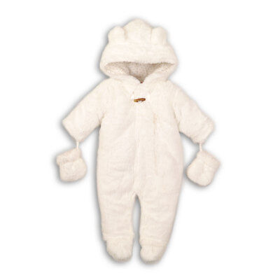Unisex Newborn Baby Boys Girls Cream Faux Fur Snowsuit Pramsuit Jacket