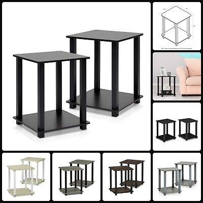 End Table Side Night Stand Composite Wood No Tool Assembly Furniture Set Of 2