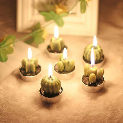6x Candle Tea Light Wax Candle Holder Non-spill Bonsai Potted Cactus Candles