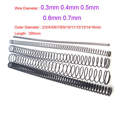 0.3mm 0.4mm 0.5mm 0.6mm 0.7mm Wire Diameter 300mm Length Springs 2mm to 14mm OD