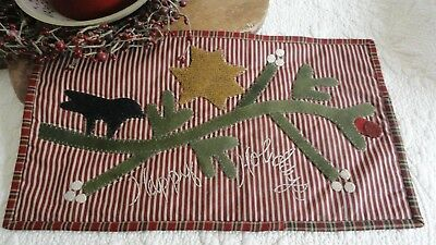 pRiMiTiVe Happy Holidays Table Quilt~Wool Applique~Runner~Crow~Christmas SALE~
