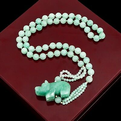 Antique Vintage Art Deco Gold Filled GF Chinese Aventurine Bead Figural Necklace