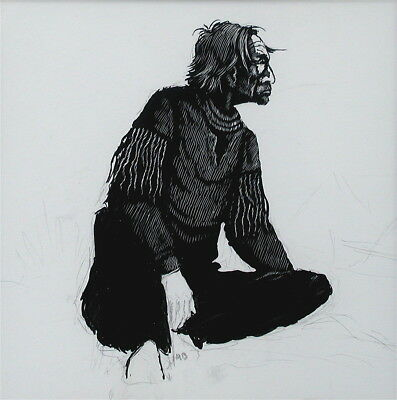 Asa Battles Native American Scratchboard Drawing (XXXV)